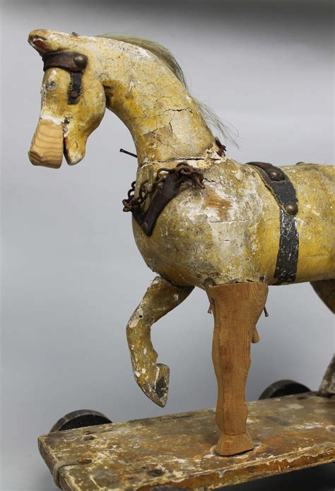 antiques atlas horse folk art pull along childs german antiques atlas 19th century child s wooden horse toy