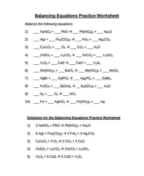 Practice Balancing Equations Worksheet by Sle Balancing Equations Worksheet Templates 9 Free