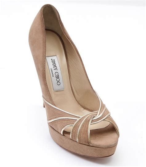 jimmy choo tan suede meringue platform peep toe pumps in jimmy choo platform pump suede leather kilda nude tan gold