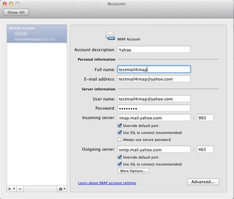 yahoo email outgoing server settings yahoo account to outlook 2011 mac using imap