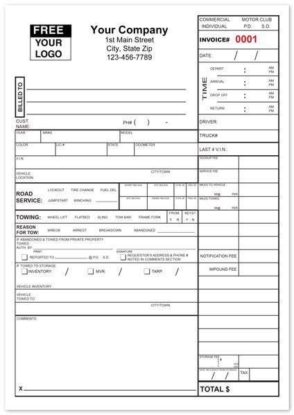 Tow Service Invoice Form Custom Print For Towing Companies Pinterest Towing Company And Towing Bill Template