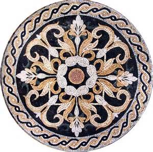 medallion mosaic pattern tile stone art floor tabletop