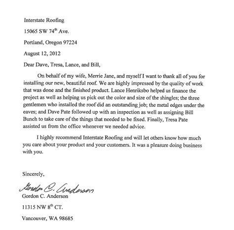 thank you letter to valued customers testimonial letters interstate roofing portland vancouver