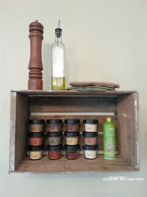 Funky Spice Rack distressed wooden crate spice rack with jars and printed