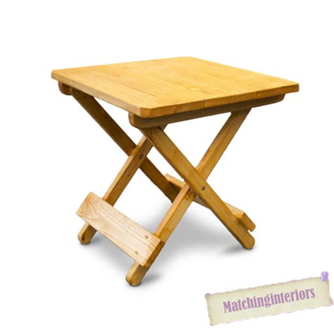 Folding Wooden Picnic Table Oak Colour Wooden Side Folding Picnic Cing Table Small Garden Patio Furniture Ebay