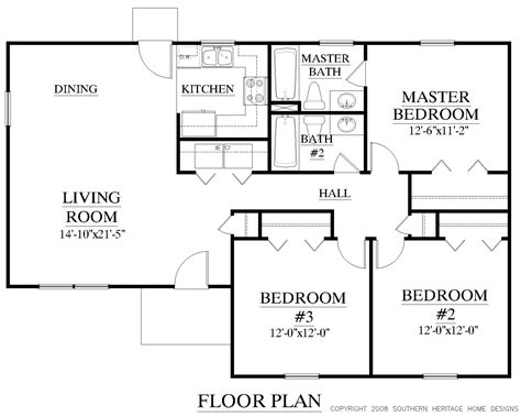 Floor Plan Tiny House by Southern Heritage Home Designs House Plan 1190 A The