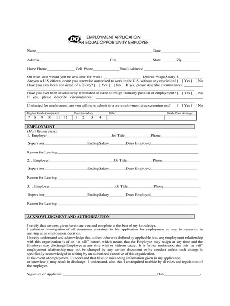 dairy queen printable job application pdf fast food and resturant job application form 23 free