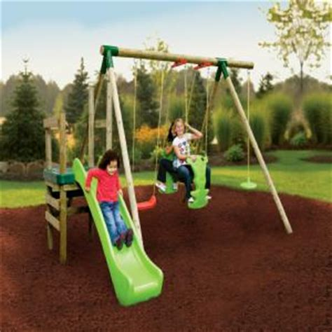 swing and slide set little tikes little tikes strasbourg wooden swing and slide set buy