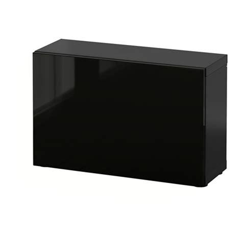 ikea besta zwart best 197 open kast met deur zwartbruin selsviken hoogglans
