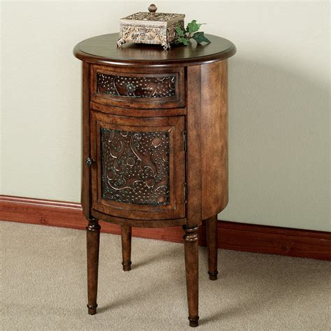 accent table storage lombardy round storage accent table
