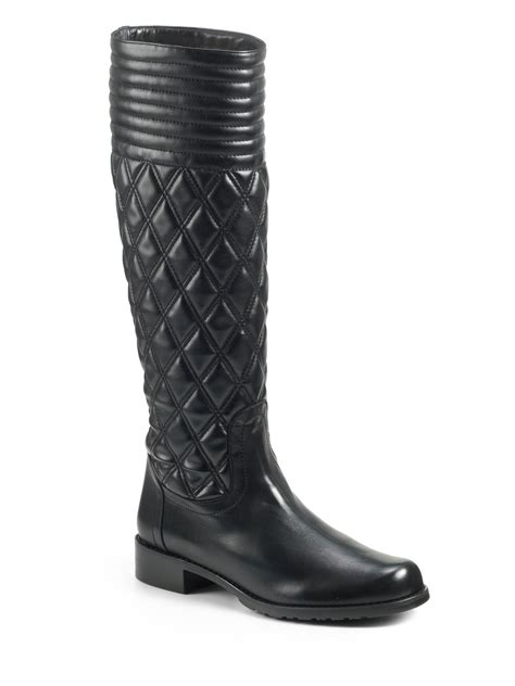Stuart Weitzman Clute Quilted Boots by Stuart Weitzman Clute Quilted Leather Flat Boots In Black