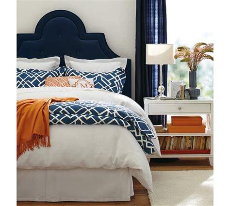 navy upholstered headboard bedrooms navy