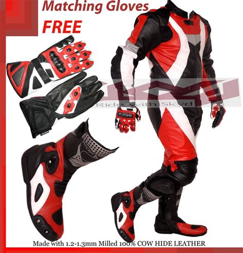 leather motorcycle racing motorcycle racing leather suit red and black suit boots