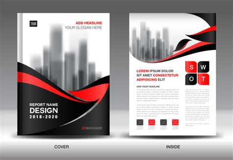 black with annual report brochure cover template