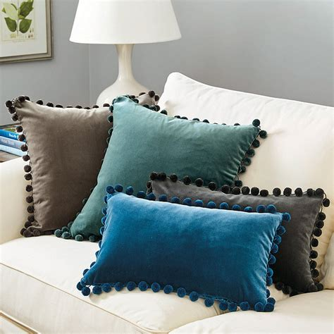 Free Shipping Ballard Designs signature velvet pom pom pillows ballard designs