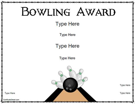 Bowling Certificate Template by Blank Certificates Bowling Award Certificate Template