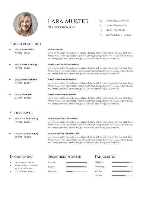 Cv Muster by Bewerbung Muster Vorlagen Kostenlos Zum Cv