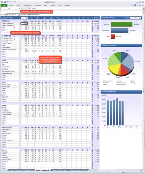 excel spreadsheet template for budget planner excel calendar template 2016