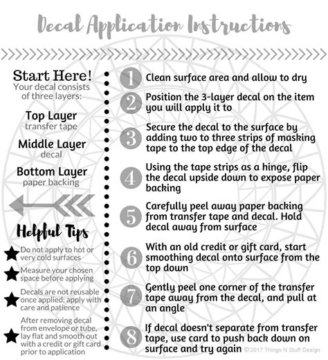 printable vinyl decal instructions decal application instructions care card printable
