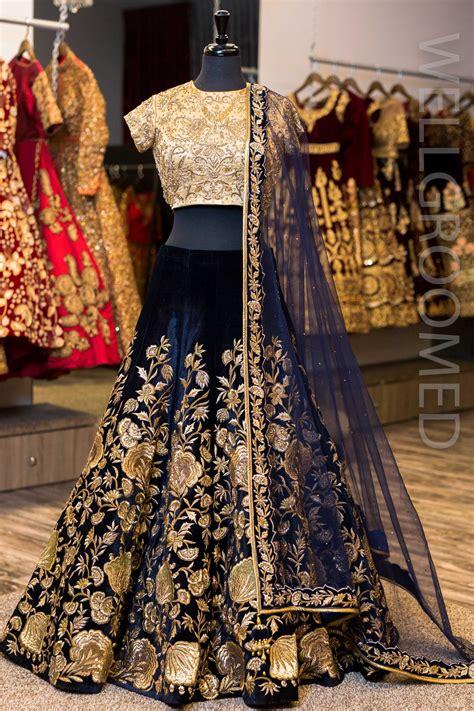 palty dress deep navy blue velvet lengha wellgroomed designs