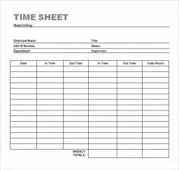 Timesheet Template by Sle Time Sheet 10 Exle Format