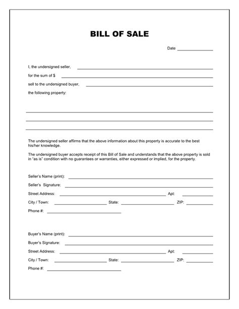 free printable bill of sale template free blank bill of sale form pdf word