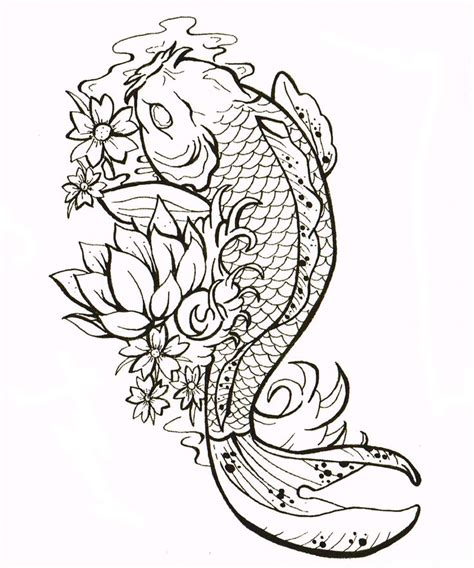 japanese coy fish tattoo designs cluster flower with koi fish design for