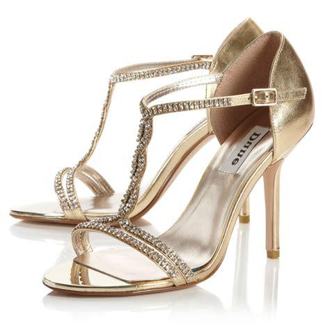 dune heels sandals dune honour diamante t bar sandals in metallic lyst