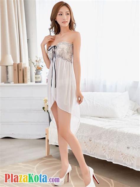 L0827 Babydoll Halterneck Putih Transparan Bordir toko jual bodystocking pakaian dalam