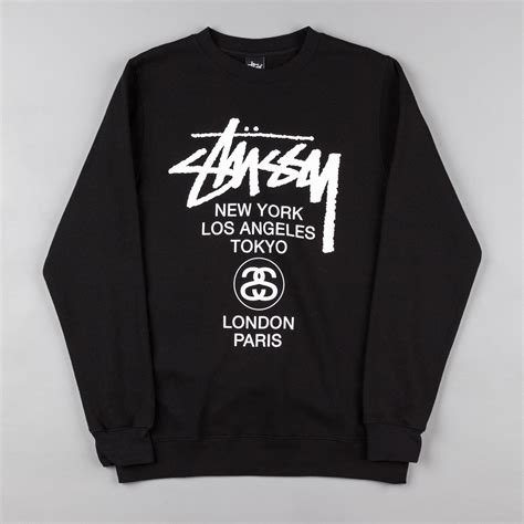 Hoodie Stussy New Yorkleadermerch stussy world tour crew neck sweatshirt black flatspot