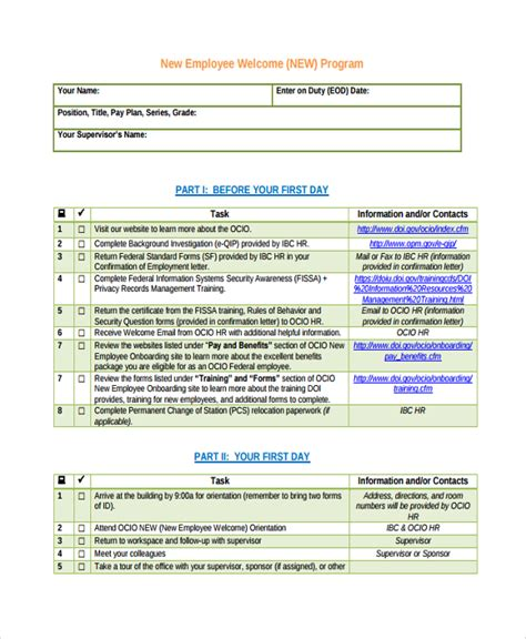 onboarding templates sle new employee checklist 16 free documents