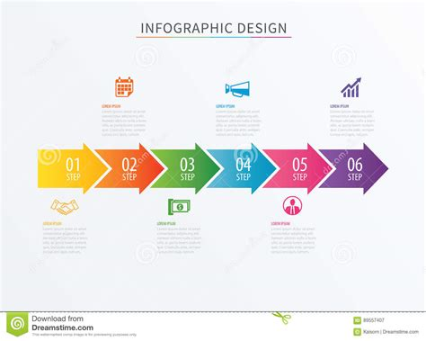 stepping design templates infographics arrow number 6 step template vector process