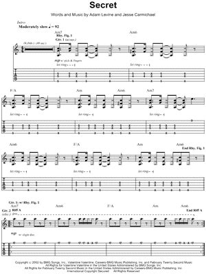 secret guitar chords maroon 5 quot secret quot guitar tab print