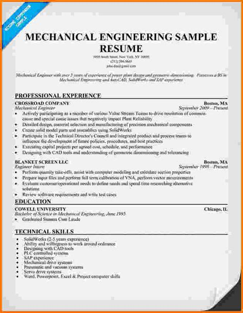 Experienced Resume Sles Mechanical Engineering 7 Experienced Mechanical Engineer Resume Financial Statement Form