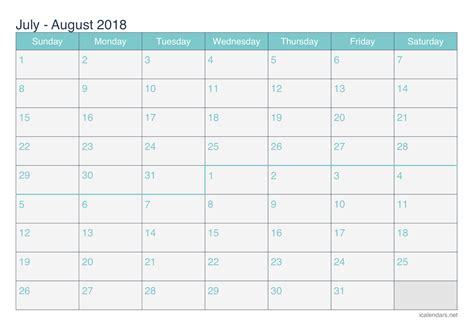 printable calendar july august 2018 july and august 2018 printable calendar icalendars net