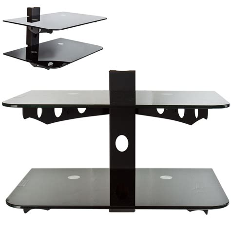 Component Shelf System by Component Shelf 2 Tier 2 Rack Wall Mount Av Dvd Cable Box Tv Stereo Console Ebay