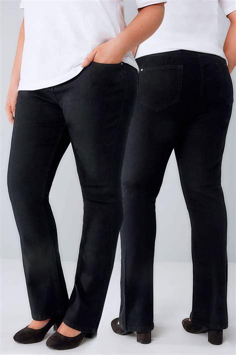 Leg 200 Medium Size Ekman Grab Sler Bottom Grab Sler black bootcut 5 pocket plus size 16 to 32