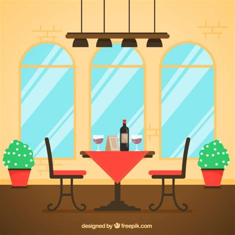 bench for two table for two flat style restaurant scene vector free