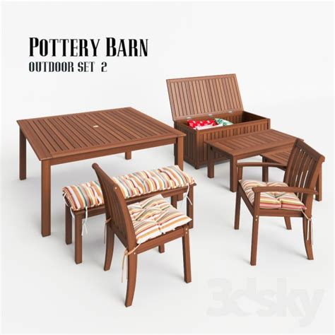Outdoor Dining Sets Pottery Barn 3d Models Table Chair Pottery Barn Outdoor Set 2