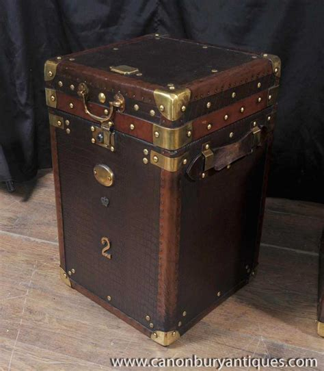 pair luggage trunk side tables leather box coffee table