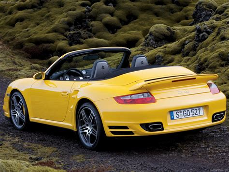 porsche yellow 2008 yellow porsche 911 turbo cabriolet wallpapers