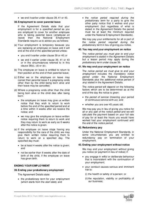 employment agreement template australia part time employment agreement template australia sle