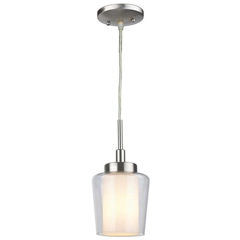Home Depot Pendant Lighting Home Decorators Collection 1 Light Brushed Nickel Mini Pendant With Etched Clear Glass Shades
