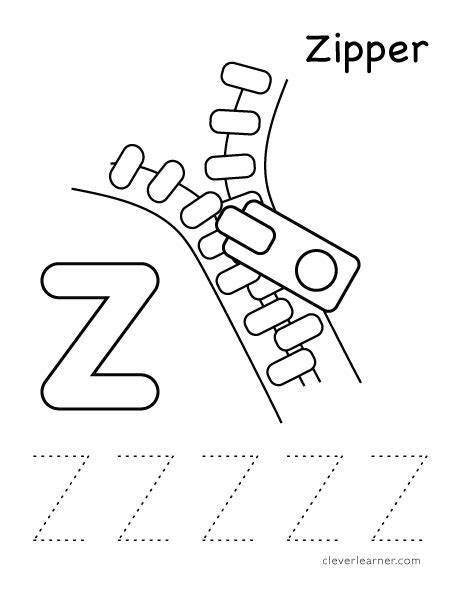 coloring page zipper zipper z worksheets for preschool zipper best free
