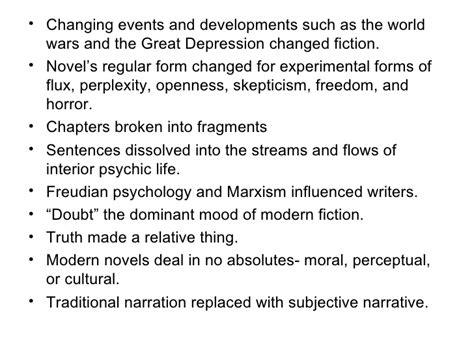 modern biography characteristics characteristics of 20th century american novel
