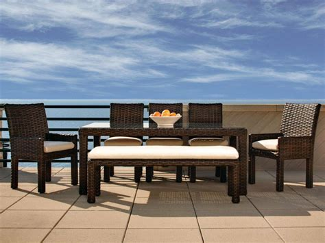 Patio Dining Set With Bench Outdoor Dining Sets With Benches