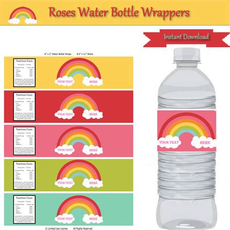 bottle wrapper template rainbow water bottle label wrappers instant