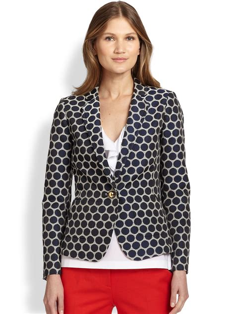 blue patterned blazer kate spade millie patterned blazer in blue french navy