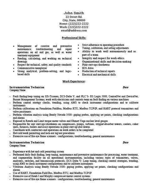 experienced instrumentation engineer resume format instrumentation technician resume template premium resume sles exle