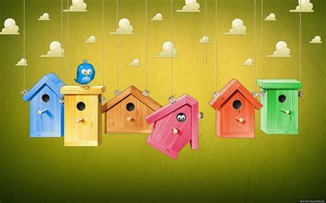wallpaper cute house bird cages art cartoon desktop background wallpapers new